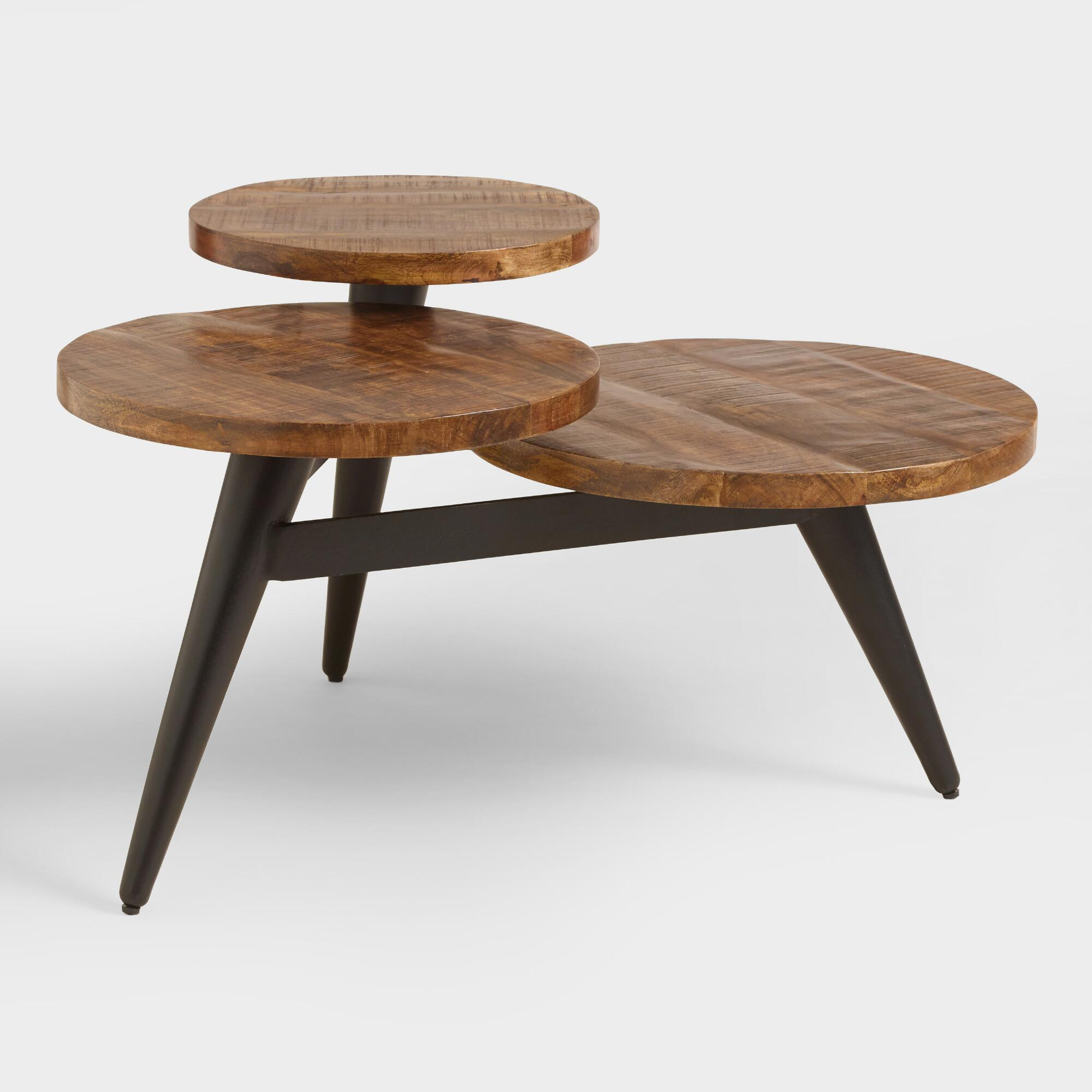 wood and metal multi level coffee table by world market